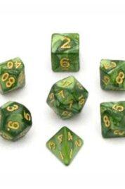 Set 7 dadi d&d marmorizzati verde muschio numeri dorati